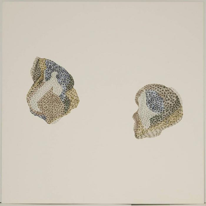 "Arezoo Moseni, Changes #2, ink, pencil, wine, Van Dyke sensitizer, 19"" x 19"", 2009"