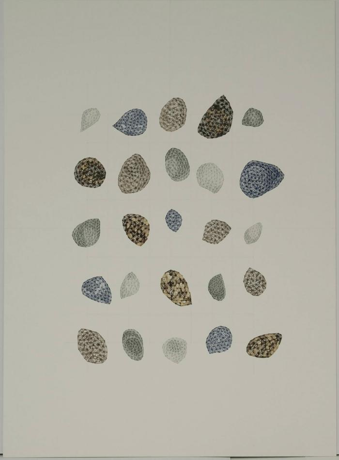 "Arezoo Moseni, Changes #9, ink, pencil, wine, Van Dyke sensitizer, 22"" x 16"", 2009"