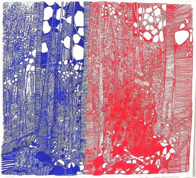 Red Blue Birch Curtain