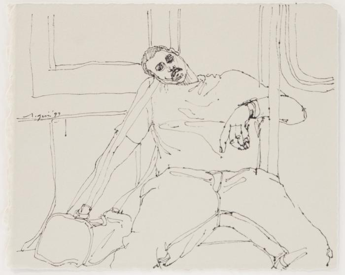 Subway Riders: Man Sleeping with Duffel Bag