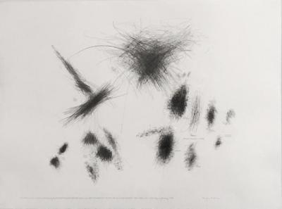 "Morgan O'Hara, Live Transmission: Movement of the Hands of the Anthony Braxton Quartet performing Ghost Trance Music, No.200 / The Knitting Factory / New York City / Saturday, 11 January 1997, graphite on paper, 22"" x 30"", 1997"