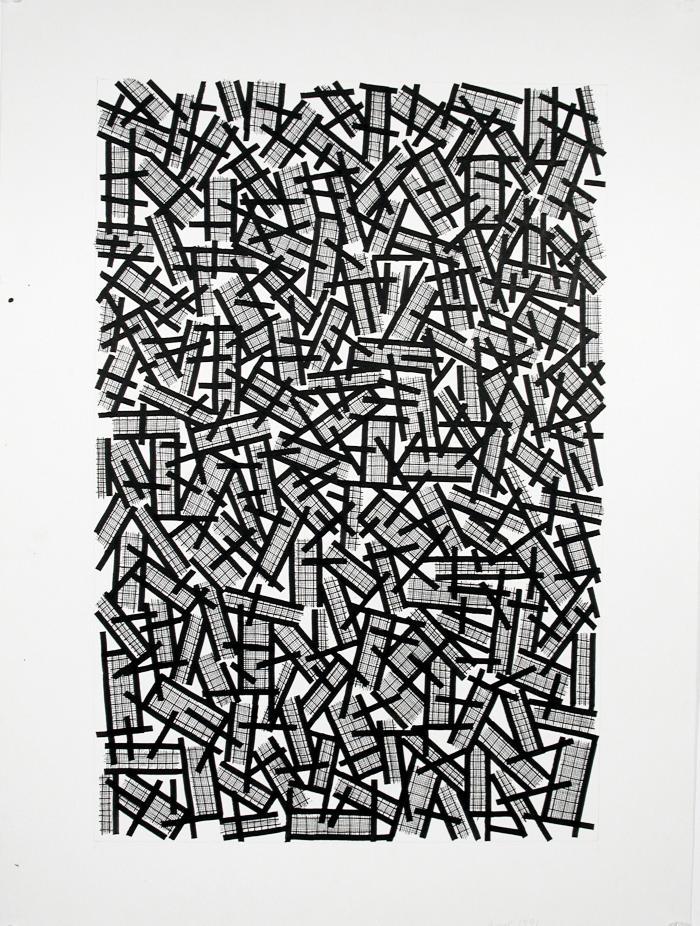 "Ernst Benkert, Zig Zag #2, ink on paper, 30"" x 22"", 1991"
