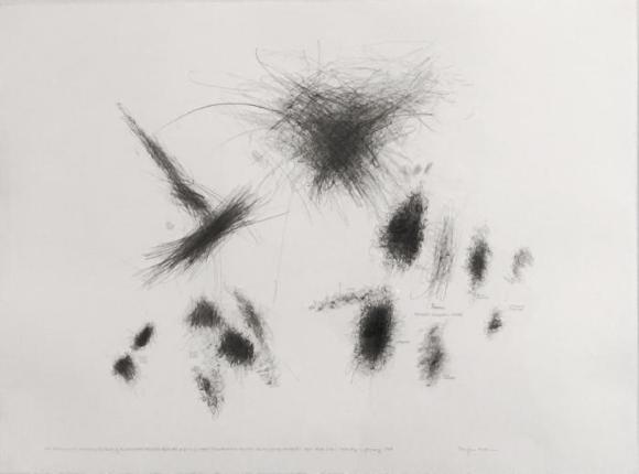 """Morgan O'Hara, Live Transmission: Movement of the Hands of the Anthony Braxton Quartet performing Ghost Trance Music, No.200 / The Knitting Factory / New York City / Saturday, 11 January 1997, graphite on paper, 22"""" x 30"""", 1997"""