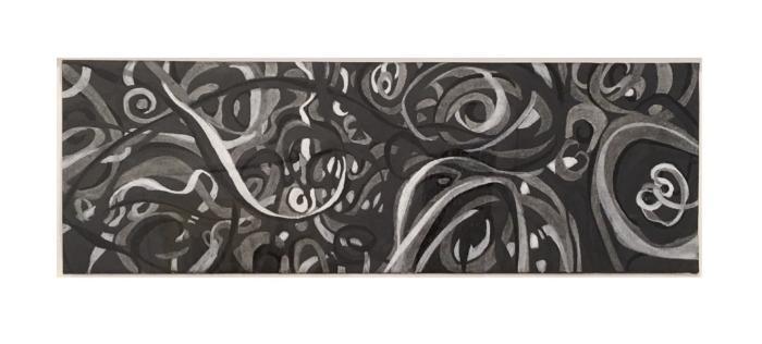 "Joel Sokolov, 10/2007 #3, acrylic, graphite, wax pastel, 16"" x 48"", 2007"