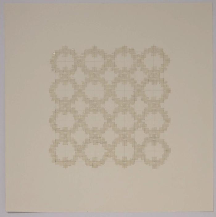 """Marietta Hoferer, Small Crystal #5, tape and pencil on paper, 21"""" x 21"""", 2005"""
