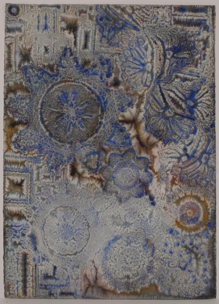 """David Ambrose, Architectural Fragments with Lace Entanglements, watercolor and gouache on pierced paper, 30"""" x 22"""", 2011"""