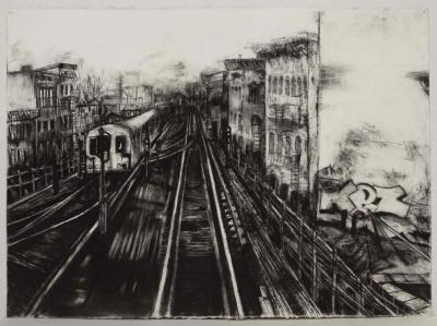 """Janell O'Rourke, M Train #7, charcoal on paper, 22.5"""" x 30"""", 2007"""