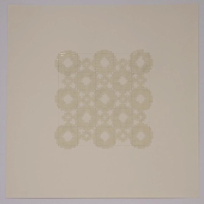 "Marietta Hoferer, Small Crystal #2, tape and pencil on paper, 21"" x 21"", 2005"