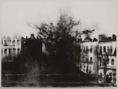 "Janell O'Rourke, M Train #12, charcoal on paper, 20"" x 17.5"", 2004"