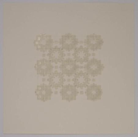 "Marietta Hoferer, Small Crystal #3, tape and pencil on paper, 21"" x 21"", 2005"