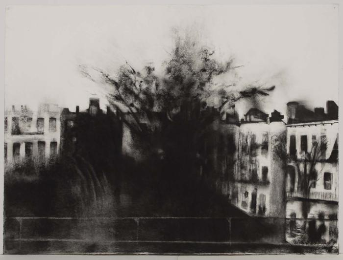 """Janell O'Rourke, M Train #12, charcoal on paper, 20"""" x 17.5"""", 2004"""