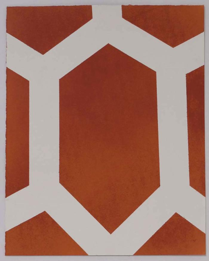 "Michael Kukla, Spray Grid #3, rustoleum on paper, 12"" x 7.5"", 2013"