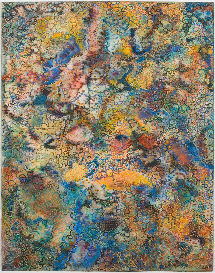 "David Ambrose, Tiepolian Vista, watercolor and gouache on pierced paper, 14"" x 11"", 2009"