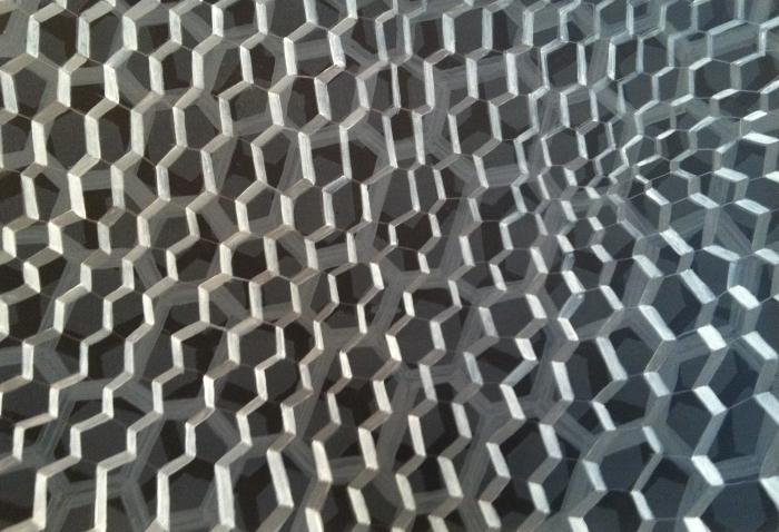 "Michael Kukla, Mixed Grid #4, acrylic on paper, 12"" x 18"", 2012"