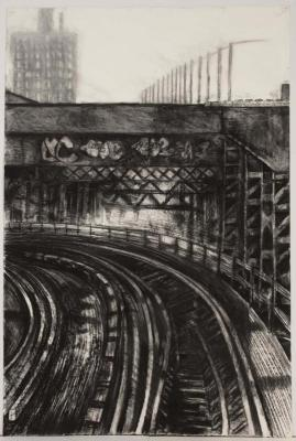 """Janell O'Rourke, M Train #5, charcoal on paper, 38"""" x 25"""", 2007"""