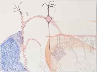"Hilary Lorenz, Untitled (Dotted), Water media on paper, 22"" x 30"", 2005"
