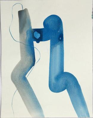 """Swimmer,"" gouache, pencil on paper, 12"" x 9"", 2013"