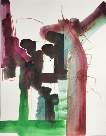 """Finder,"" ink, gouache on paper, 17"" x 13"", 2016"