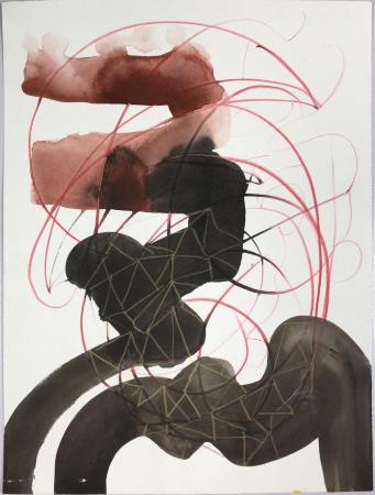 """Congfigure,"" gouache on paper, 12"" x 9"", 2012"