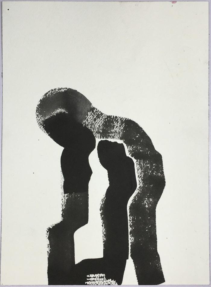 """""""Diver,"""" gouache on paper, 12"""" x 9"""", 2016"""