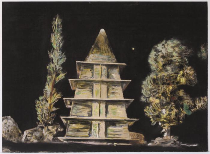 """Herb Reichert, Untitled (Pagoda), pastel on paper, 22"""" x 30"""", 2007"""