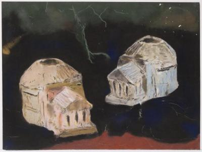 "Herb Reichert, Two Pantheons, pastel on paper, 22"" x 30"", 2006"