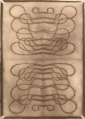 "Automatic Writing Series no. 17, powdered pigment on 100% rag paper, 10"" X 7"", 1999."