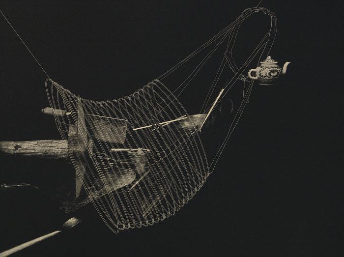 """Phillip Chen, Flower Water, Relief Etching, 23 x 31"""", 2001"""