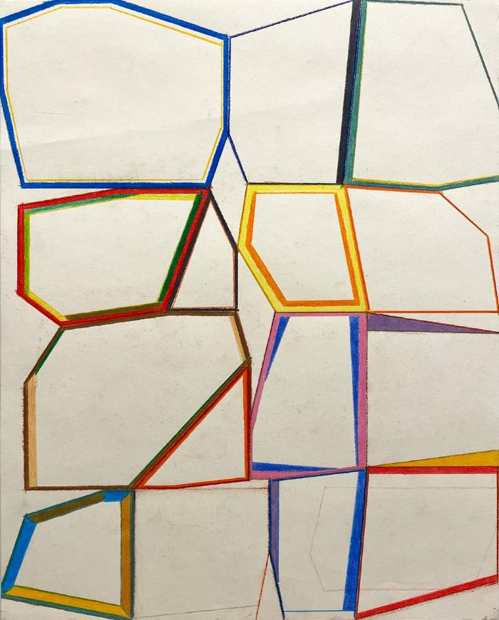 "Erick Johnson, ""Segmented Polygons #6,"" colored pencil on paper, 14 x 11"", 2020"