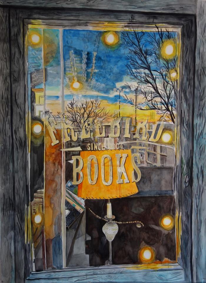 "Meridith McNeal, Inside Outside: Freebird Books (Red Hook, Brooklyn), watercolor on paper, 75 x 55"", 2019"