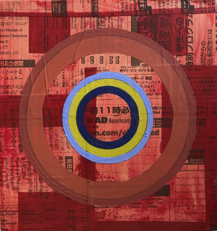 "Alyce Santoro, Circles on Collage of LIFE Prints, silkscreen on newsprint, ink, gouache, mounted on wooden cigar box lid, 7.5 x 7 x 2.5"", 2020"