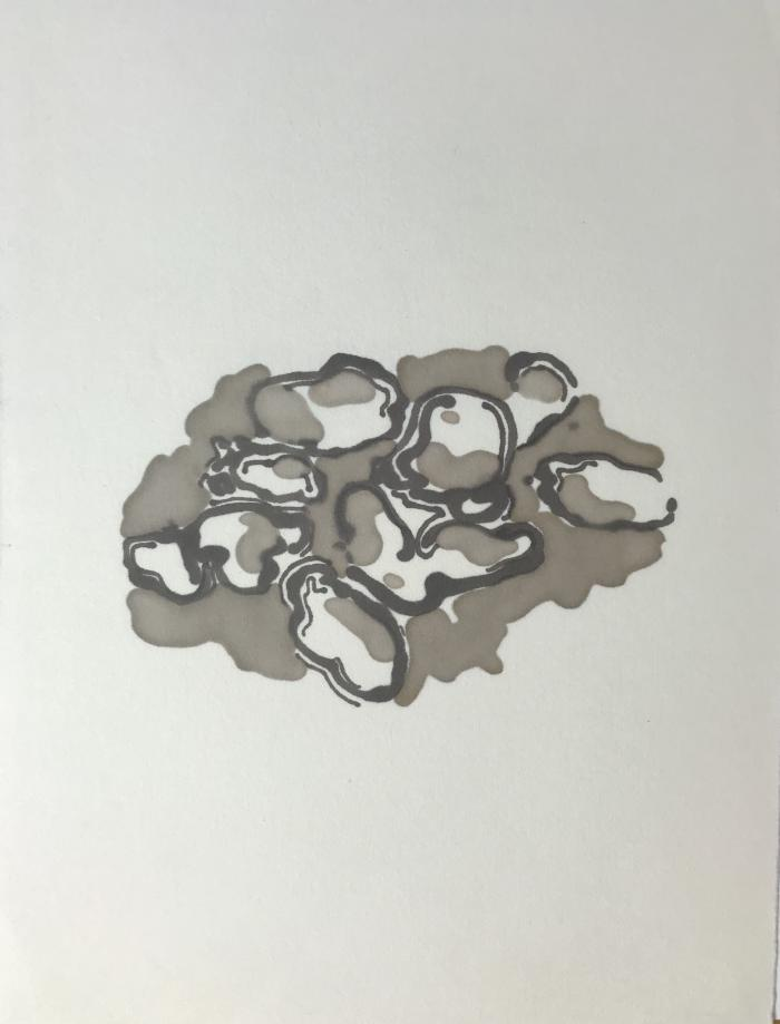 Peter Schroth, Cadaques 18/9, marker on rice paper, 2018