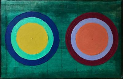 "Alyce Santoro, Two Circles, mixed media on book cover, 8.75 x 5.75"", 2020"