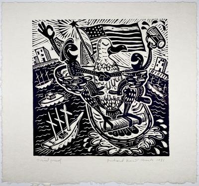 Richard Mock, linoleum block print, TP
