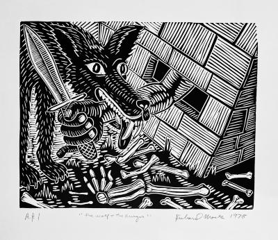 Richard Mock, The Wolf and the Hunger, linoleum block print, AP I, 1979