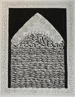 """Sa'dia Rehman, Barcelona - Mediterranean, ink, Sharpie and pen on Arches watercolor paper, 11"""" x 8.5"""", 2019"""