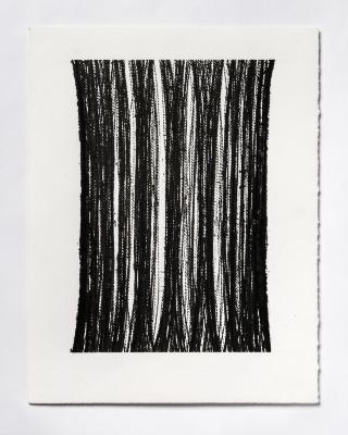 Lynne Tobin, Pllar Series #6, ink on paper, 15 x 11.5 in, 2019 (photo credit: Kenneth Elk)