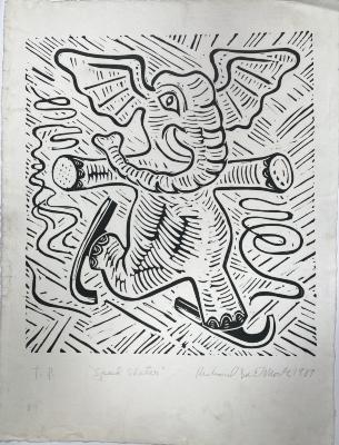 Richard Mock, Speed Skater, linoleum block print (proof), 1989