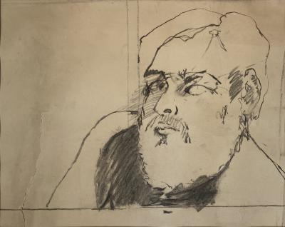 Richard Mock, Self Portrait, pencil on paper, 1965