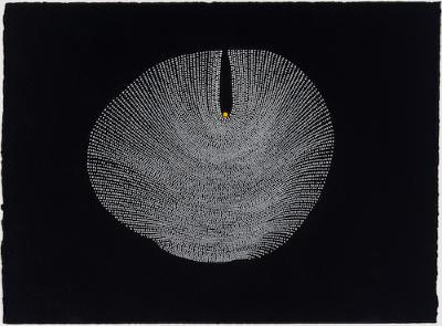 "Paula Overbay, Yellow Dot #7, acrylic on paper, 11"" x 15"", 2015"