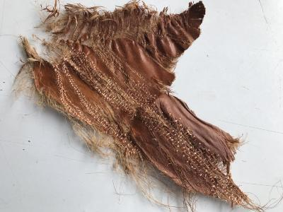 """Sara Roberts, """"…lying among fallen leaves and rubbish that the wind has blown into the gutter.."""", #6, palm bark, silk and rayon thread, 16.25"""" x 13.75"""", 2018"""
