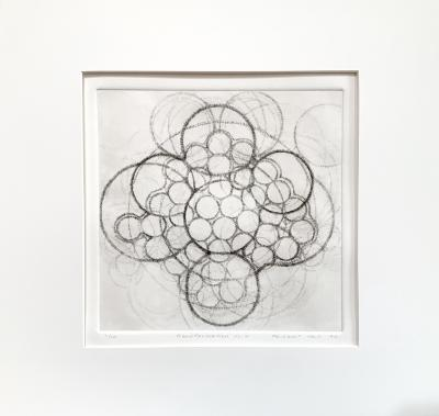 """Margaret Neill, Transformations 2, etching on paper, 19"""" x 19.5"""", 1996"""