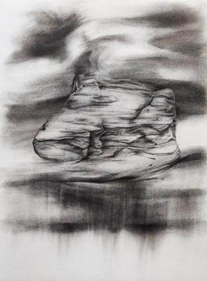 "Dawn Lee, Great Sand Dunes, Elements #1 Study 5, charcoal on paper, 15"" x 11"", 2012"