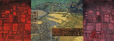 "Cynthia Back, Encroachment, reduction woodcut, aquatint, chine colle, 8"" x 22"", 2011; Photo credit: Jack Ramsdale"