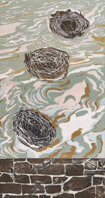 "Cynthia Back, Walls Come Tumbling #2, woodcut, reduction linocut, chine colle, 22"" x 12"", 2013; Photo credit: Jack Ramsdale"