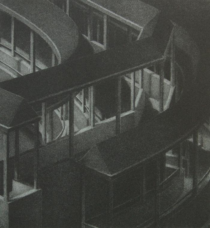 """Phillip Chen, Stone Boat: Spolia, etching, 6.25"""" x 6.75"""", 1994"""