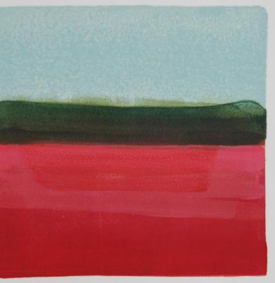 "Jane Lincoln, Cranberry, monotype, 8"" x 8"", 2014"