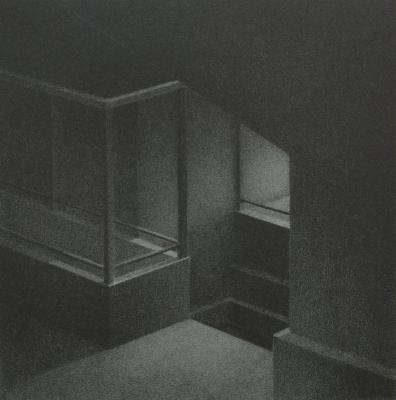 "Phillip Chen, Stone Boat: Incidence, lithograph, 6.375"" x 6.25"", 1996"