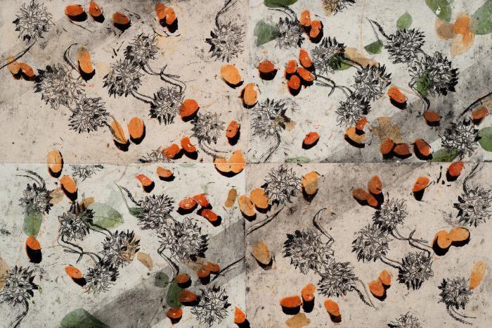 """Las 99 Semillas: Del Norte y Del Sur, Etching, linocut, aquatint, chine colle, 18"""" x 22.25"""", 2012; Photo credit: Jack Ramsdale"""