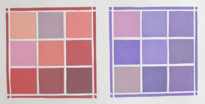 """Jane Lincoln, Chinese Orange; Iris, woodcut, 6"""" x 10"""", 2014"""